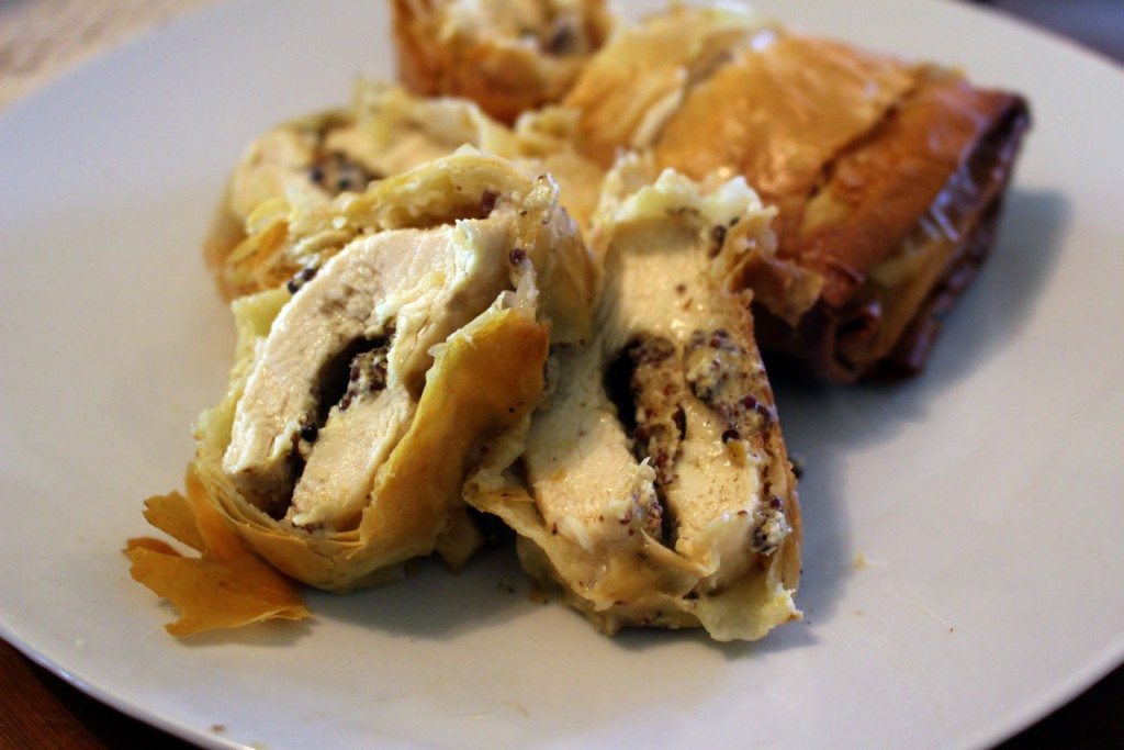 Phyllo-Wrapped Mustard Cheese Chicken